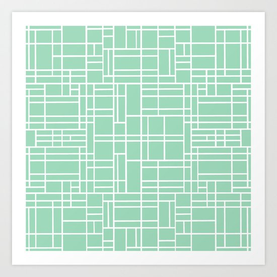 Map Outline Mint Art Print
