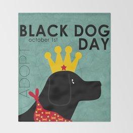 Black Dog Day Royal Crown Throw Blanket