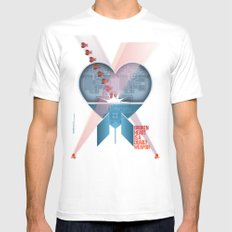 Broken Heart Is A Deadly Weapon MEDIUM White Mens Fitted Tee