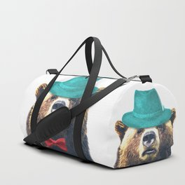 Funny Bear Illustration Duffle Bag