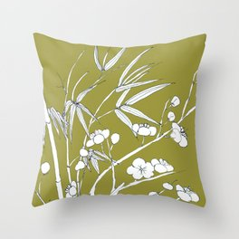 bamboo and plum flower in white on yellow Throw Pillow