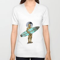 surfer V-neck T-shirts featuring Space Surfer by Diego Tirigall