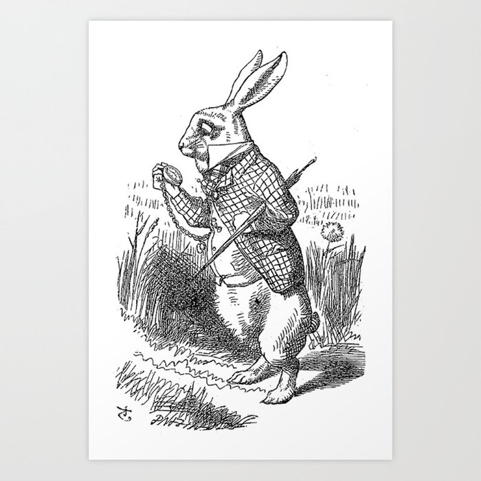 Vintage Alice In Wonderland The White Rabbit Emo Goth Antique Book Drawing Sketch Art Print Art Print By Igallery Society6
