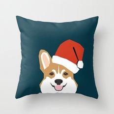 Corgi Christmas  santa claus costume for cute welsh corgi pet dog lover gift for the corgi person Throw Pillow