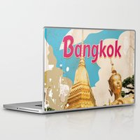travel poster Laptop & iPad Skins featuring Bangkok Vintage Travel Poster by Nick's Emporium Gallery