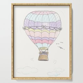 Cat in a Hot Air Balloon Happy Adventure Serving Tray