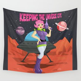 Keeping The Universe Cute One Planet At A Time Wall Tapestry