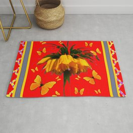 DECORATIVE RED YELLOW FRAMED BUTTERFLIES CROWN IMPERIAL Rug