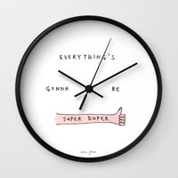 marc Wall Clocks featuring everything's gonna be super duper by Marc Johns