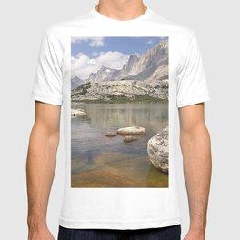 stones plates river water transparent bottom T-shirt