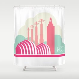 Kansas City in the Clouds - Pink Shower Curtain