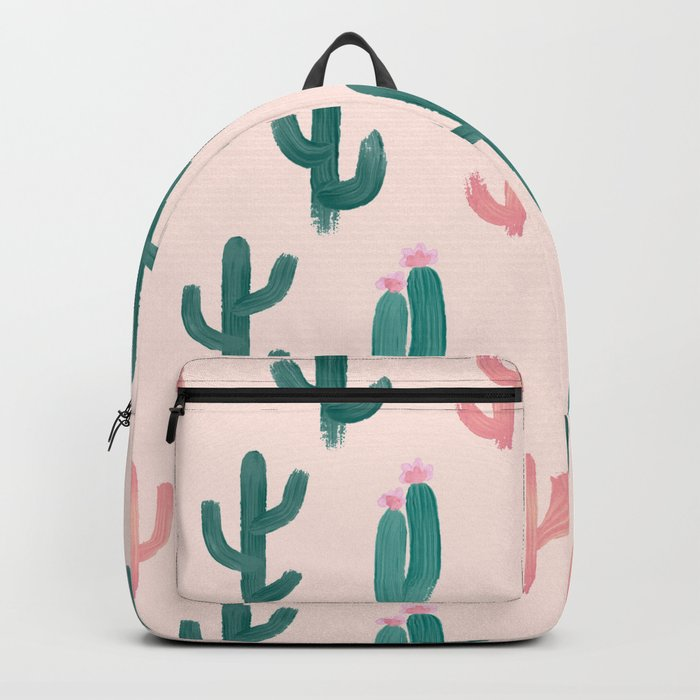 Painted Cactus Pattern on Pink Backpack