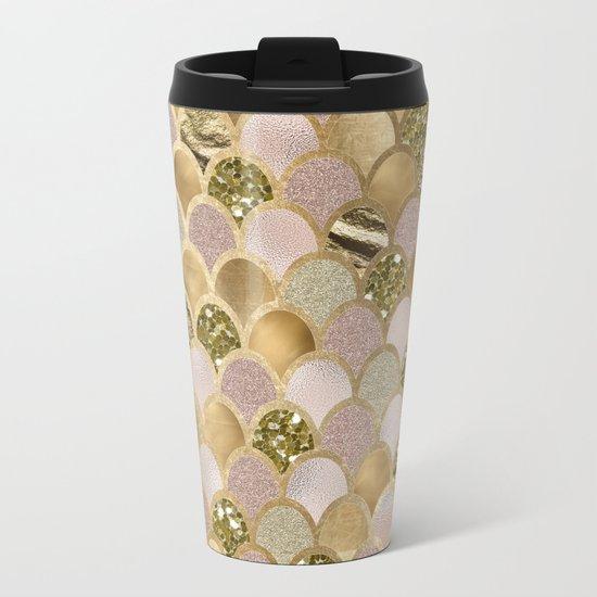 Rose gold glittering mermaid scales Metal Travel Mug