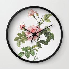 Vintage Pink Rose Turbine Illustration Wall Clock