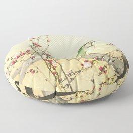 Songbird on peach tree - Vintage Japanese Woodblock Print Art Floor Pillow