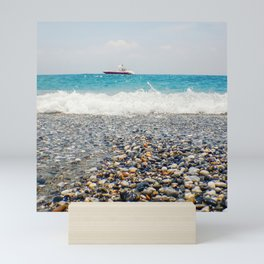 Beach View Motor Boat Floating on clear Turquoise Water, Summer Concept Mini Art Print