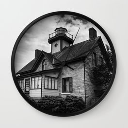 Cedar Point Lighthouse in Black and White Landscape Photograph Wall Clock