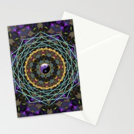 Purple Yin Yang Sacred Geometry Fractals Stationery Cards