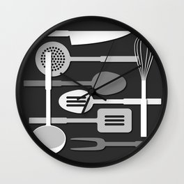 Kitchen Utensil Silhouettes Monochrome III Wall Clock