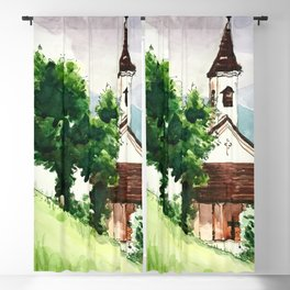 Austrian Alps Mountain Chapel Blackout Curtain