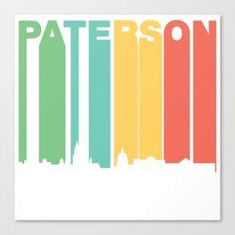 Retro 1970's Style Paterson New Jersey Skyline Canvas Print