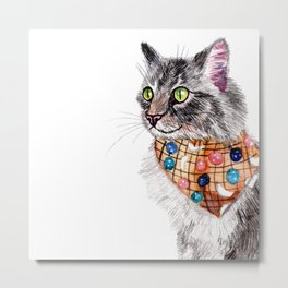 Blue Tabby Cat with Bandana Metal Print
