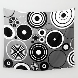 Geometric black and white rings on metallic silver Wall Tapestry