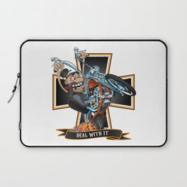 Deal with it -  funny biker riding a chopper, popping a wheelie motorcycle cartoon Laptop Sleeve
