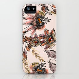 Tropical drawings of pasiflora flowers iPhone Case