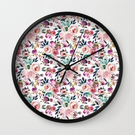 Hand painted blush pink purple watercolor floral Wall Clock