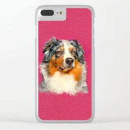 Australian Shepherd - Blue Merle Watercolor Digital Art Clear iPhone Case