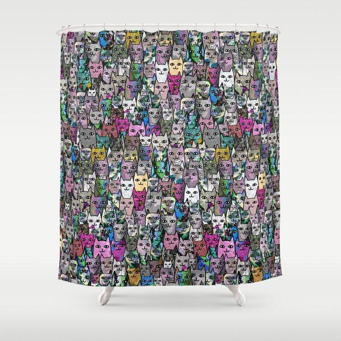 Gemstone Cats CYMK Shower Curtain