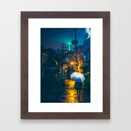 Euljiro in the rain Framed Art Print
