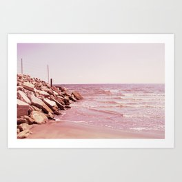 Rosey Beaches Art Print