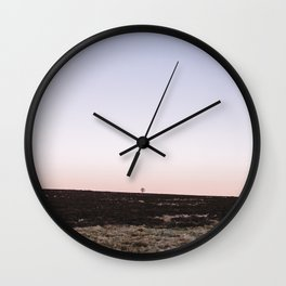 Lone tree on moorland at twilight. Derbyshire, UK. Wall Clock