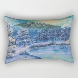 Mountain Water Landscape Winter Blue Rectangular Pillow