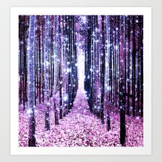 Magical Forest Path Lavender Pink Periwinkle Art Print