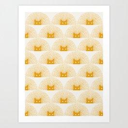 Good Meowning Pattern Art Print