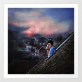 sleeping by chimney top Art Print