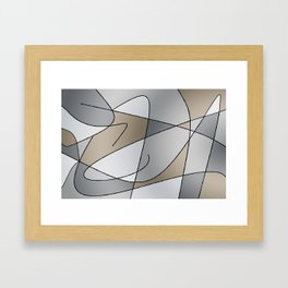 ABSTRACT CURVES #2 (Grays & Beiges) Framed Art Print