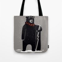snowboard Tote Bags featuring Bear on snowboard by SpazioC
