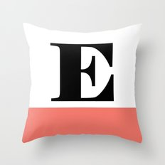 Monogram Letter E-Pantone-Peach Echo Throw Pillow