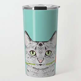 Valentines Cat greeting card cell phone with cat love cat lady gifts egyptian mau cat owners Travel Mug