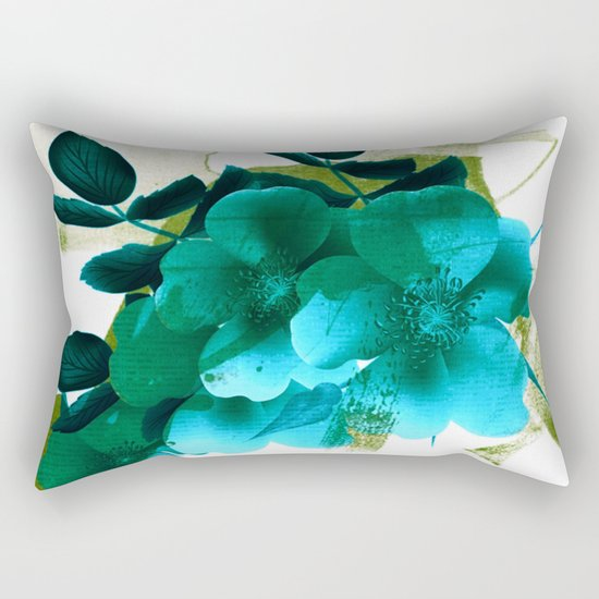 blue flowers and green abstract Rectangular Pillow