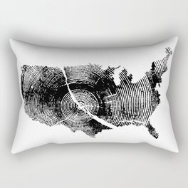United States Print, Tree rings, Tree stump, Wood grain, Tree ring art Rectangular Pillow