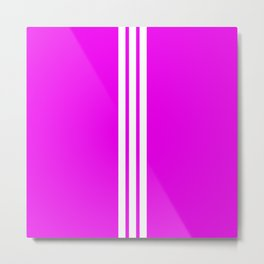 3 White Stripes on Pink Metal Print
