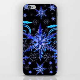 DECORATIVE BLACK & BLUE WINTER SNOWFLAKE FANTASY ART iPhone Skin
