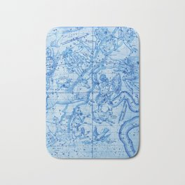 Blue Antique Celestial Map January February March Bath Mat