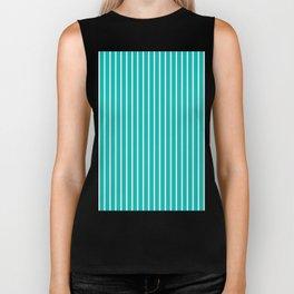 Vertical Lines (White/Tiffany Blue) Biker Tank