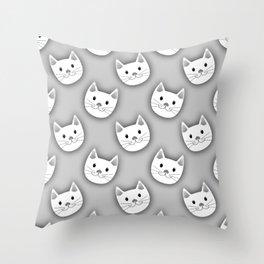 Cute Cat Face Grey White Throw Pillow